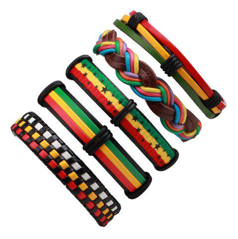 Cheap 5 Pcs Colorful Wax Rope Woven Manual Leather Bracelet MULTICOLOR