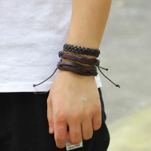 6 Pcs  Wax Rope Woven Leather Bracelet Male - BROWN #26