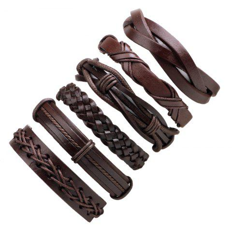 Best 6 Pcs  Wax Rope Woven Leather Bracelet Male - BROWN #26  Mobile