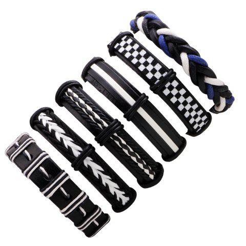 Best 6 Pcs Exaggerated Punk Leather Braided Bracelet MULTICOLOR