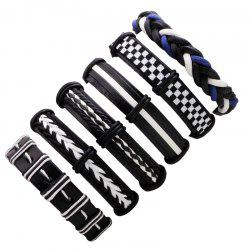 6 Pcs Exaggerated Punk Leather Braided Bracelet - MULTICOLOR