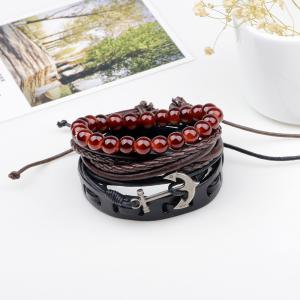 4 Pcs Vintage Anchor Hand Woven Bracelet - MULTICOLOR
