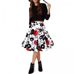 Woman Retro Red Rose Flower Bouquet Floral Print High Waist Midi Skirts Knee-Length Long Saia Feminina Ladies Skirt - WHITE XL