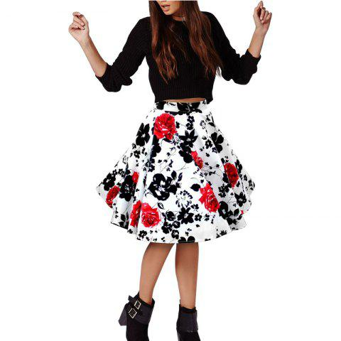 New Woman Retro Red Rose Flower Bouquet Floral Print High Waist Midi Skirts Knee-Length Long Saia Feminina Ladies Skirt WHITE XL