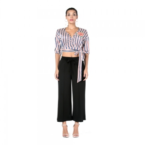 Beauty Garden Women Loose Casual Long Pants Solid Belt Bow-Knot Female Dress Autumn Fashion Straight Pants -