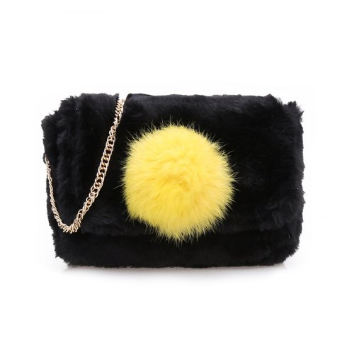 Affordable Casual Signature Contrast Color Plush Shoulder Crossbody Bag for Women BLACK