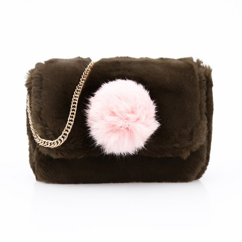 New Casual Signature Contrast Color Plush Shoulder Crossbody Bag for Women