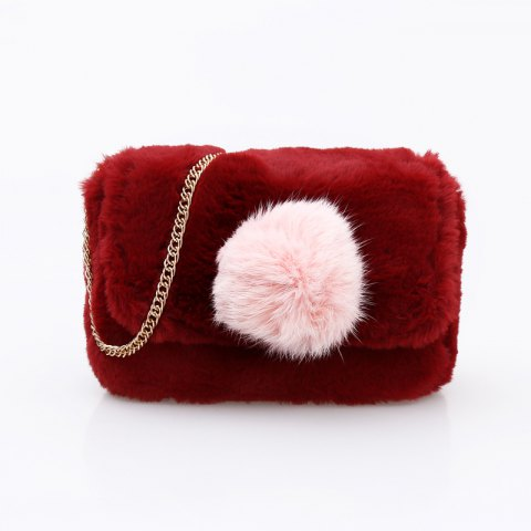 Online Casual Signature Contrast Color Plush Shoulder Crossbody Bag for Women - RED  Mobile