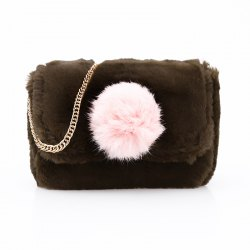 Casual Signature Contrast Color Plush Shoulder Crossbody Bag for Women -