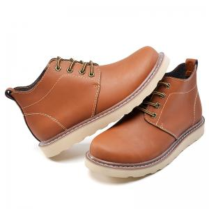 Outdoor Leisure Boots Fat Boots Thick Soled Shoes Outdoor Hiking Shoes Leather Boot - BROWN 43