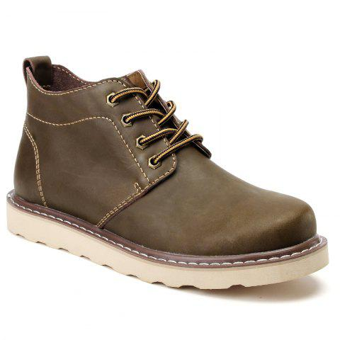 Outfits Outdoor Leisure Boots Fat Boots Thick Soled Shoes Outdoor Hiking Shoes Leather Boot - 42 KHAKI Mobile