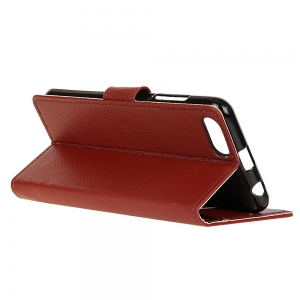 Wkae Litchi Texture PU Leather Folio Stand Wallet Case Cover with Card Slots for Doogee MIX -