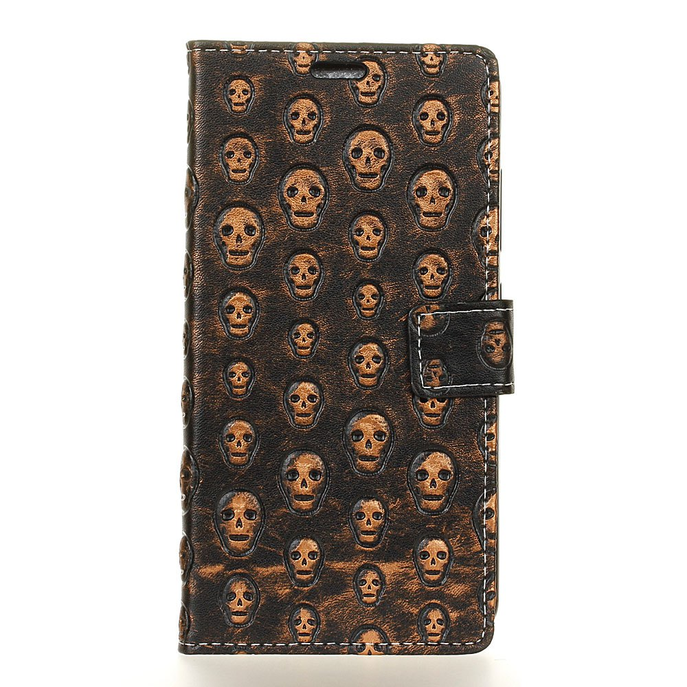 Cheap 3D Texture Heavy Metal Style Flip PU Leather Wallet Case for HTC One X10