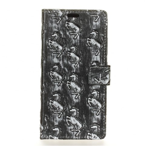 Fashion 3D Texture Heavy Metal Style Flip PU Leather Wallet Case for ZTE Blade L6