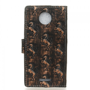 3D Texture Heavy Metal Style Flip PU Leather Wallet Phone Case for Motorola Moto C -