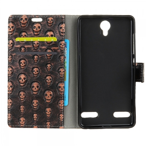 3D Texture Heavy Metal Style Flip PU Leather Wallet Case for ZTE Blade L7 -