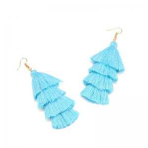 Bohemia Simple Multi Tassel Sweater Chain Necklace Tassel Earrings -