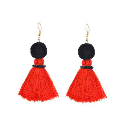 Affordable Fashion Korean Fan Street Sexy Chinese Red Tassels Handmade Earrings RED