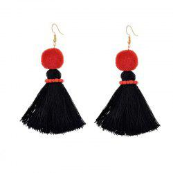 Fashion Korean Fan Street Sexy Chinese Red Tassels Handmade Earrings - BLACK