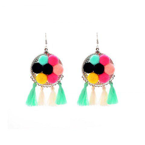 Fashion European and American Cotton Tassel Simple Mix Plush Ball Earrings