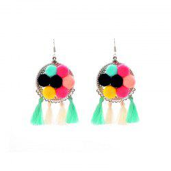 European and American Cotton Tassel Simple Mix Plush Ball Earrings -