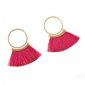 Bohemia Wind Alloy Earrings Exaggerated Fan Tassel Earrings -