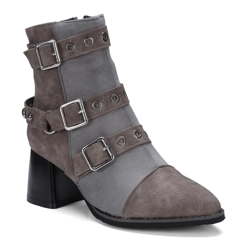 Trendy Women's Ankle Boots Hasp Decor Boots