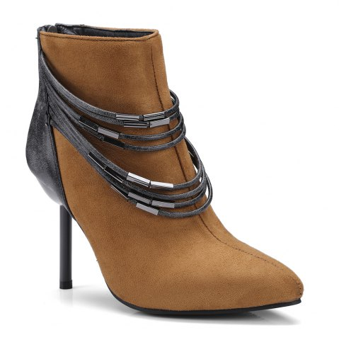 Affordable Women's Bottine Metal Chain Decor Pointed Toe Elegant Thin Heels Boots
