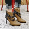 Women's Bottine Metal Chain Decor Pointed Toe Elegant Thin Heels Boots -