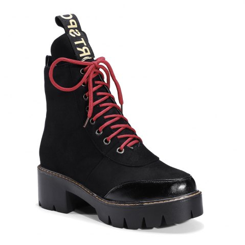 Buy Women's Martin Boots Color Block Square Heel Faddish Lacing Shoes