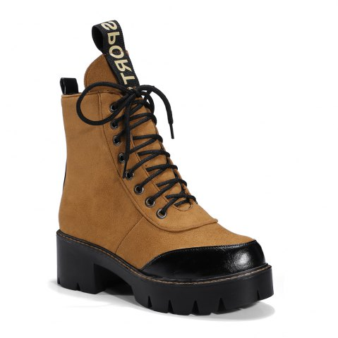 Online Women's Martin Boots Color Block Square Heel Faddish Lacing Shoes