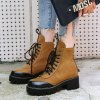 Women's Martin Boots Color Block Square Heel Faddish Lacing Shoes -