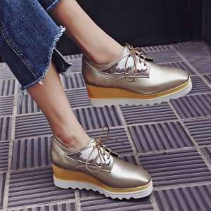 Women's High Heeled Pumps Stylish Solid Cosy Wedge Shoes - GOLDEN 36