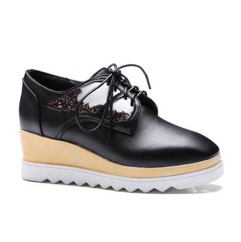 Unique Women's High Heeled Pumps Stylish Solid Cosy Wedge Shoes - 39 BLACK Mobile