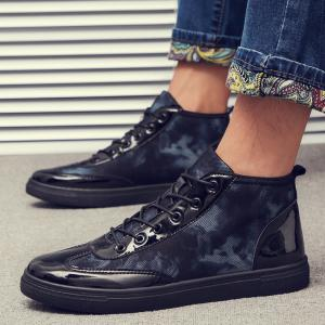 Autumn High To Help The Canvas Bright Leather Shoes - BLACK 41