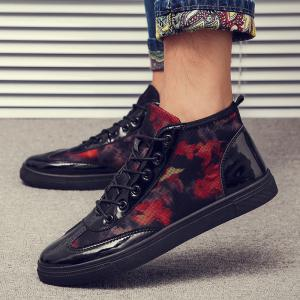 Autumn High To Help The Canvas Bright Leather Shoes - FLAME 39