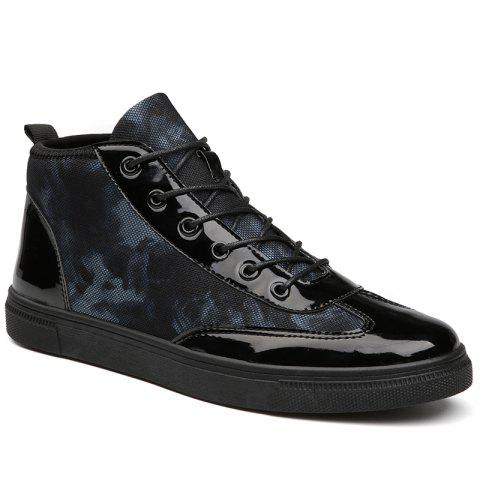 Fashion Autumn High To Help The Canvas Bright Leather Shoes BLACK 41