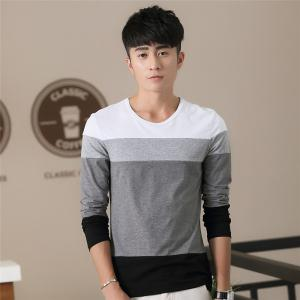 Mens Hit Color Round Neck Long Sleeve Slim T-Shirt -