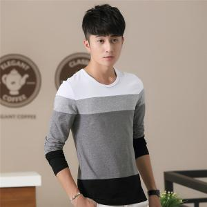 Mens Hit Color Round Neck Long Sleeve Slim T-Shirt - WHITE 2XL