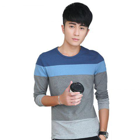 Unique Mens Hit Color Round Neck Long Sleeve Slim T-Shirt