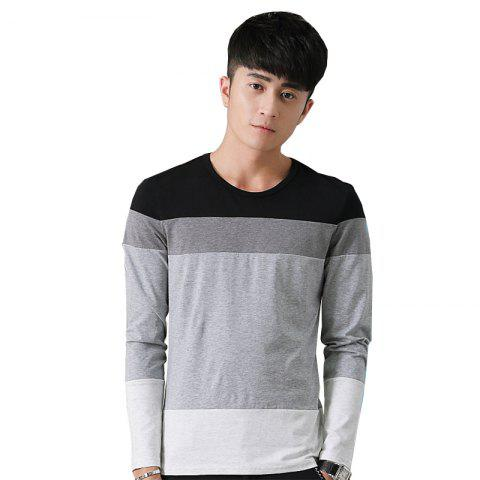 Online Mens Hit Color Round Neck Long Sleeve Slim T-Shirt - M BLACK Mobile