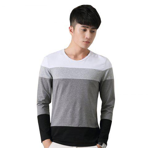 Hot Mens Hit Color Round Neck Long Sleeve Slim T-Shirt WHITE M