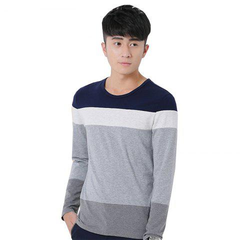 Chic Mens Hit Color Round Neck Long Sleeve Slim T-Shirt ROYAL M