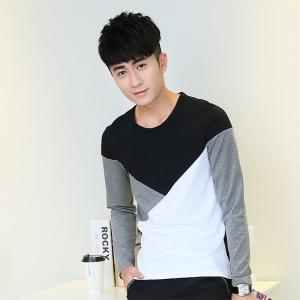 Mens Hit Color Geometric Long Sleeve Slim Round Neck T-Shirt - BLACK 2XL
