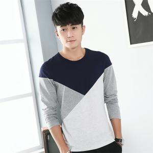 Mens Hit Color Geometric Long Sleeve Slim Round Neck T-Shirt - ROYAL M