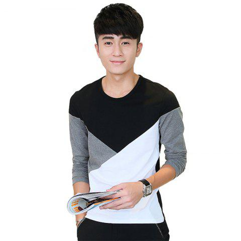 Shops Mens Hit Color Geometric Long Sleeve Slim Round Neck T-Shirt - L BLACK Mobile