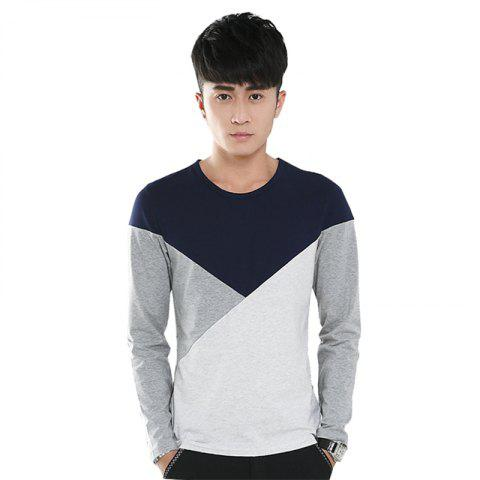 Cheap Mens Hit Color Geometric Long Sleeve Slim Round Neck T-Shirt
