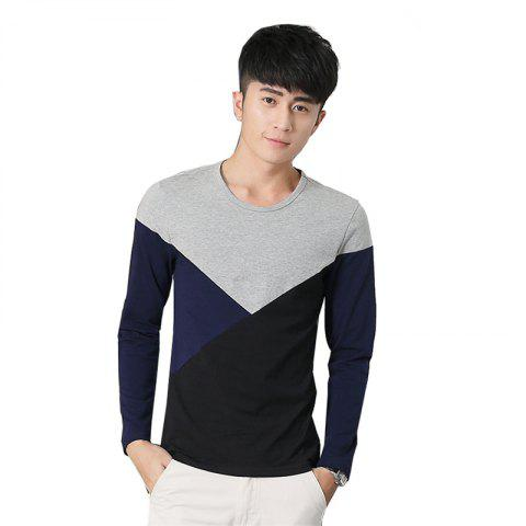 Hot Mens Hit Color Geometric Long Sleeve Slim Round Neck T-Shirt
