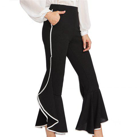 Store Women's Lotus Leaf Side Nine Points Flared Trousers - S BLACK Mobile