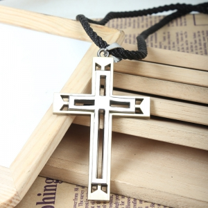 Titanium Steel Double Cross Pendant -